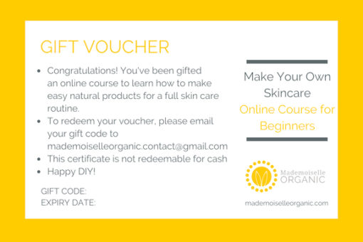 """Online Course """"Make Your Own Skincare for Beginners"""" - E-GIFT Certificate"""
