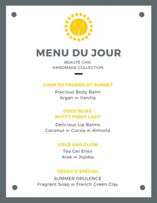Example of MENU DU JOUR for a workshop - Beauté Chic- handmade collection by Mademoiselle Organic