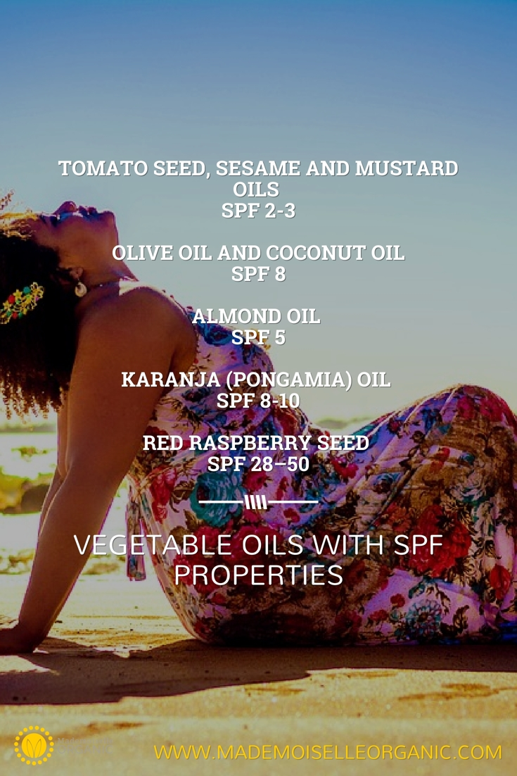 Vegetable oils with SPF properties